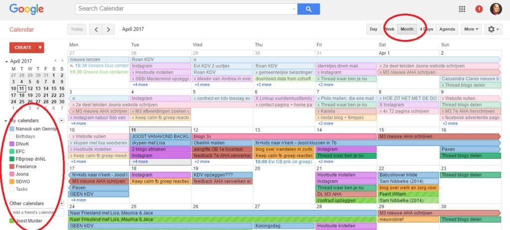 Google Calendar of a digital nomad mom