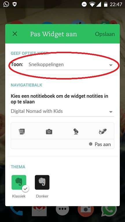 How to get shortcuts in Evernote widget